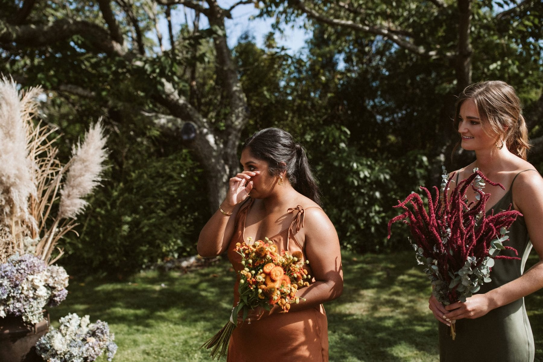 Sarah + Jeremy \\ Taupo Wedding captured by Ana Galloway. Hayes Bridal, Meadowlark. Modern Bride. New Zealand. Bridesmaids. Dried Flower bouquet.
