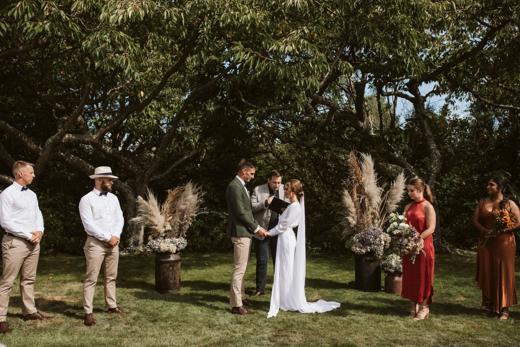 Sarah + Jeremy \\ Taupo Wedding captured by Ana Galloway. Hayes Bridal, Meadowlark. Modern Bride. New Zealand. Dried Flowers ceremony.