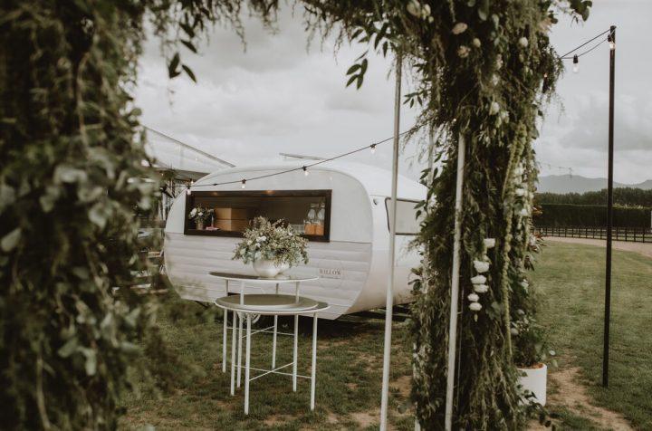 WILLOW THE CARAVAN BAR Wild Hearts Wedding Vendor Directory- Willow is a vintage 1960's Starliner Caravan that has been freshly transformed into a mobile caravan bar - caravan and bar table